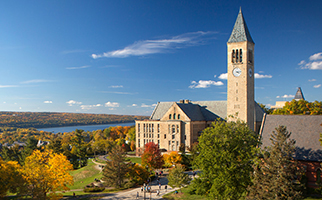 Cornell clock tower with lake in background